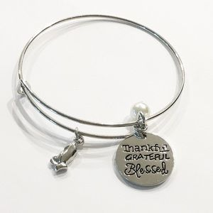 Blessed praying hands silver charm bracelet